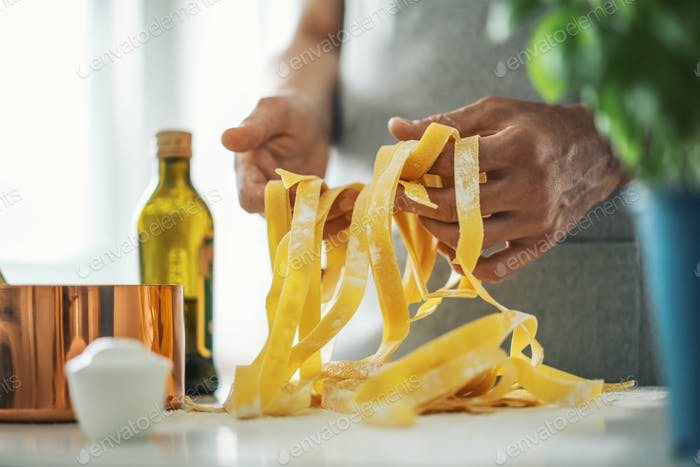 Pasta chef makes fresh italian pasta