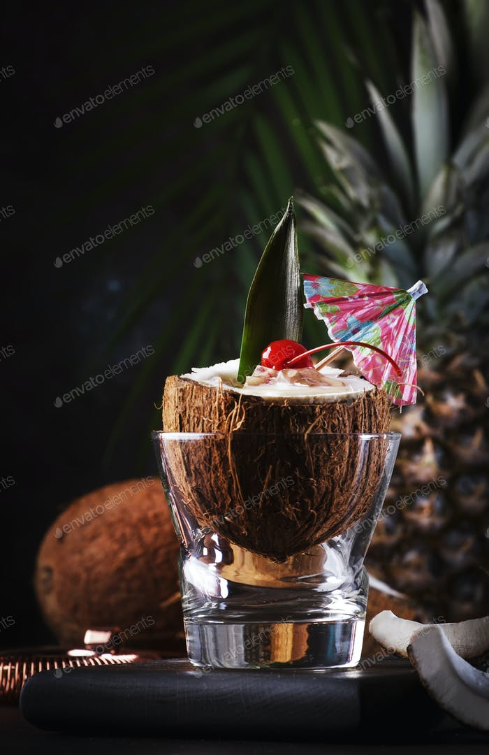 Pina Colada Cocktail in chopped coconut