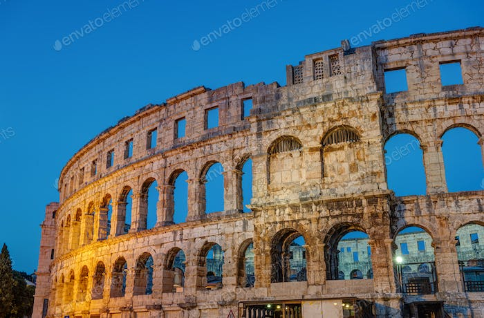 Detail of the Pula Arena at night