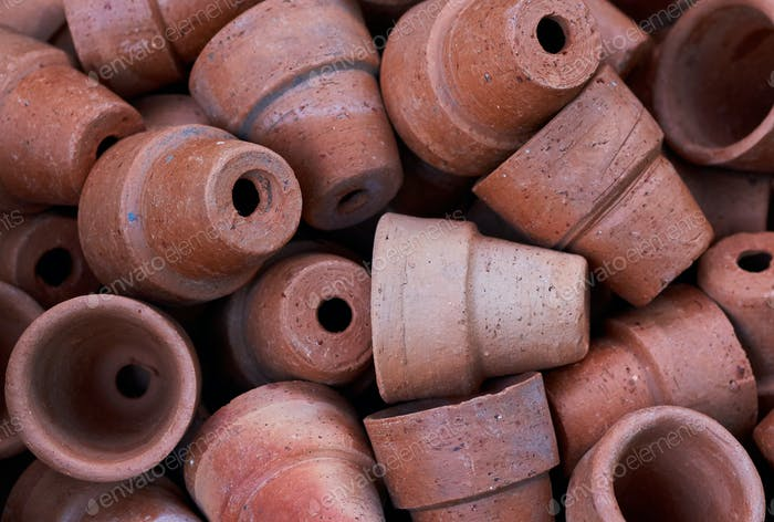 Background of brows clay pots in gardening shop