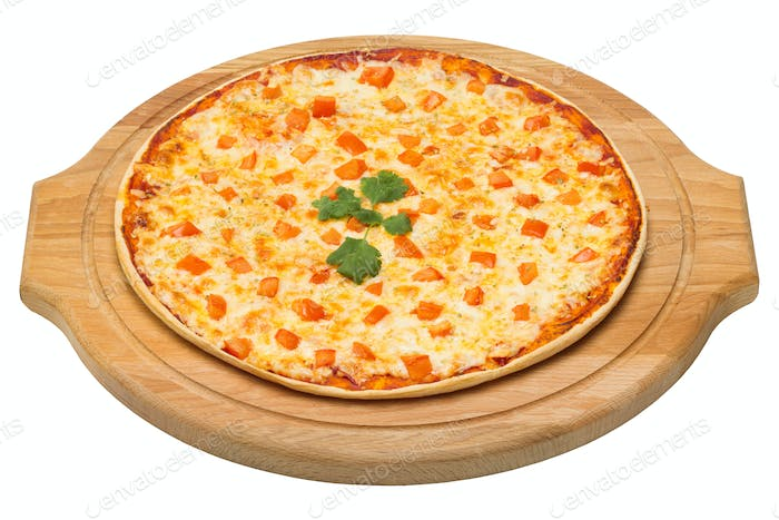 Pizza Margherita on a wooden tray