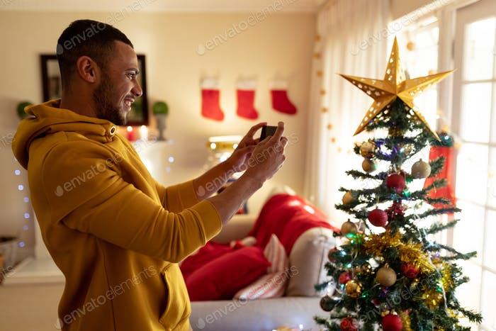 Man at home at Christmas time