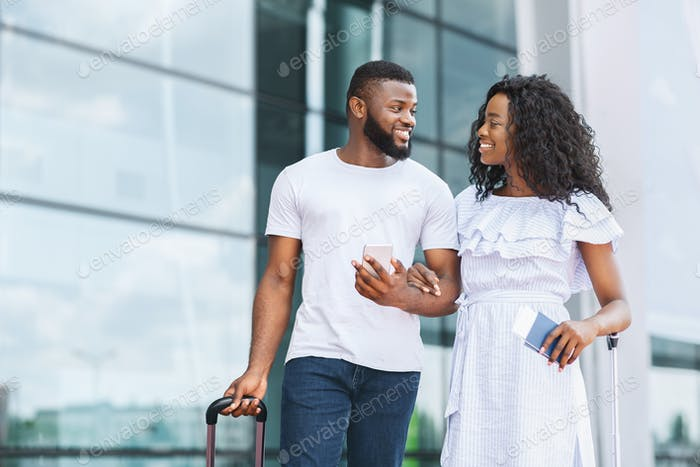 Happy Afro Couple Going To Travel Together, Arrived To Airport