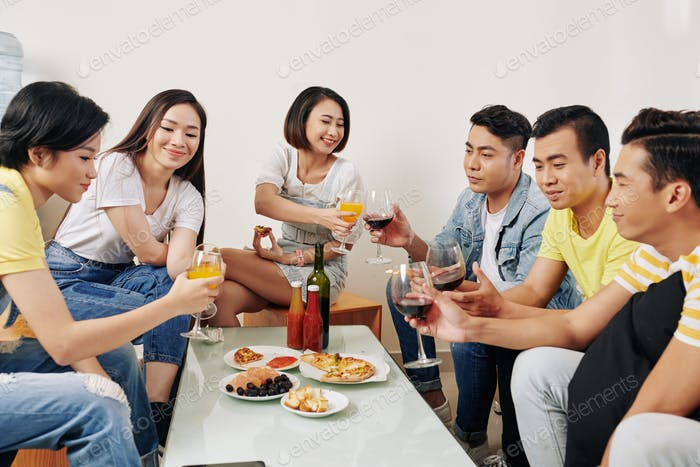 Young people having house party