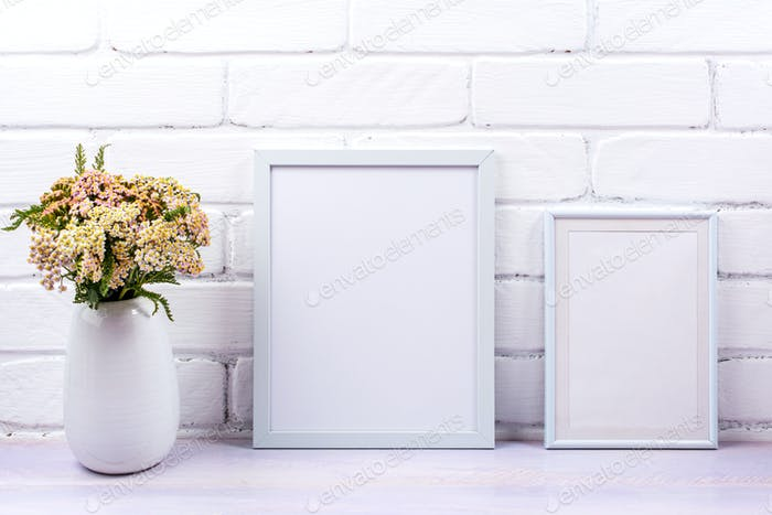 Placeit – Two white poster frames mockup with pink yarrow