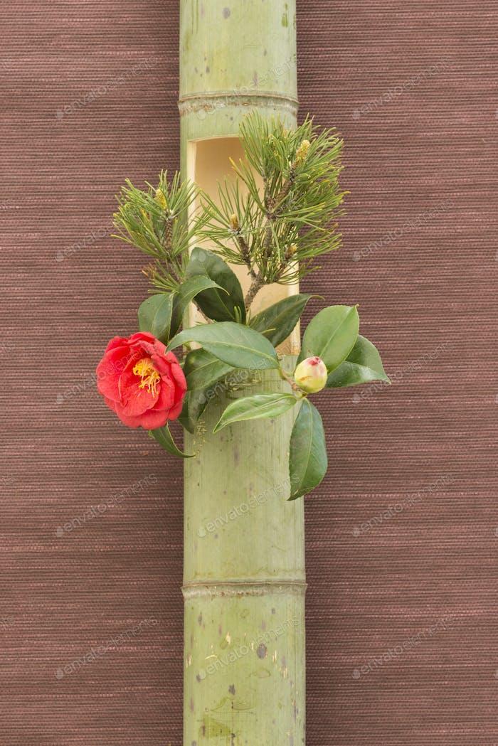 Japanese flower arrangement in bamboo