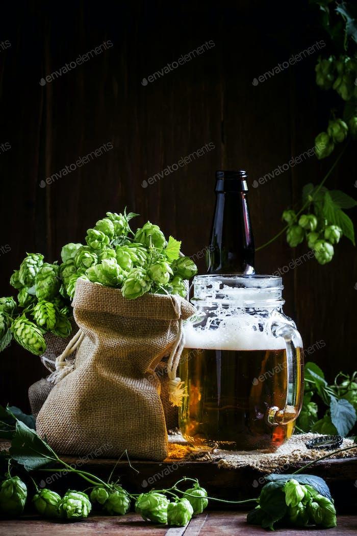 Jar of beer and fresh hops