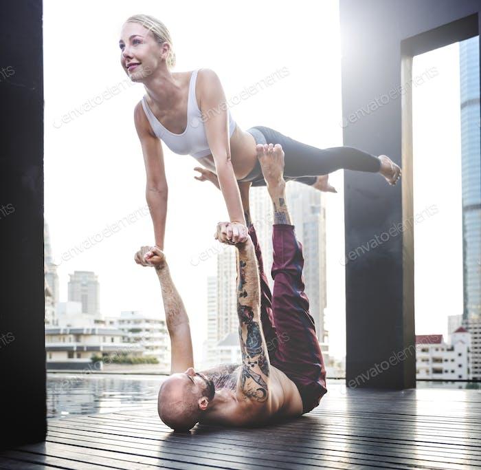 Yoga Class Practice Pose Training Concept