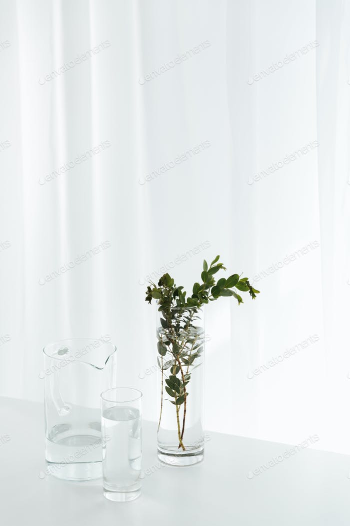 Flowers on white table indoors