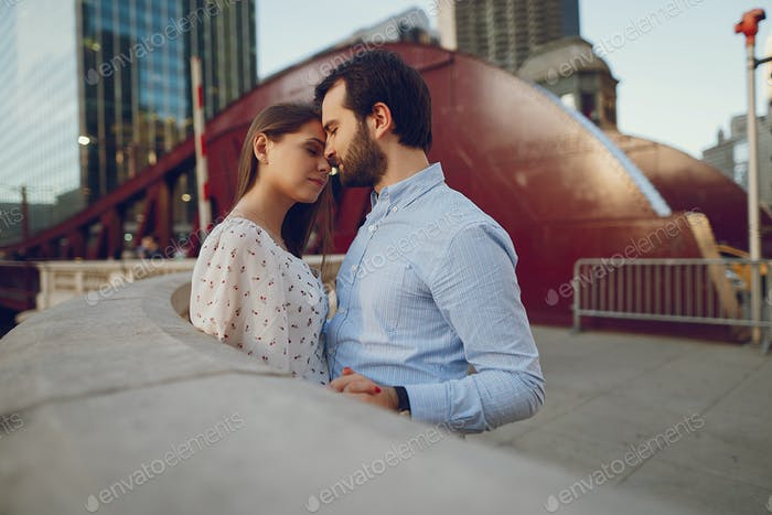 elegant couple in a city