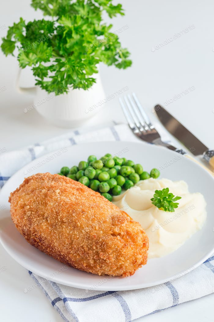 Chicken Kiev, ukrainian cuisine. Chicken cutlets in bread crumbs