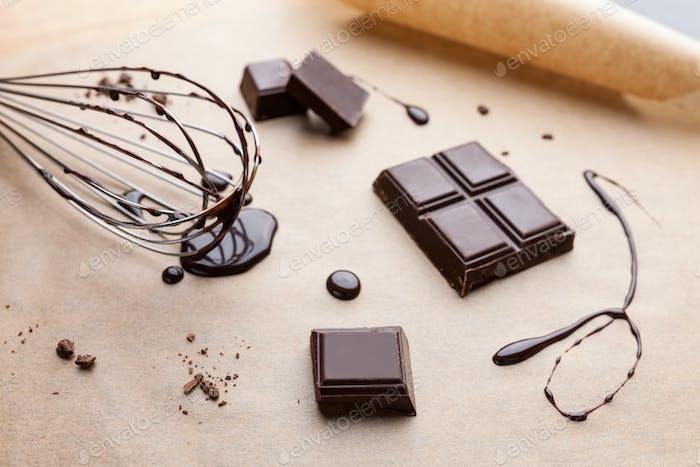Delicious and bitter dark chocolate