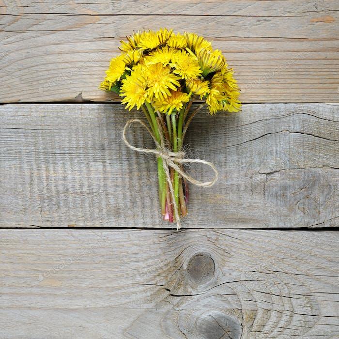 Bouquet of dandelion flowers
