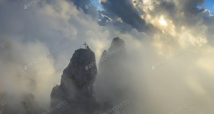 Panorama rocks at dawn dramatic clouds