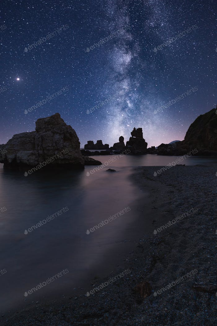 Galaxy & Milky Way Over A Beach