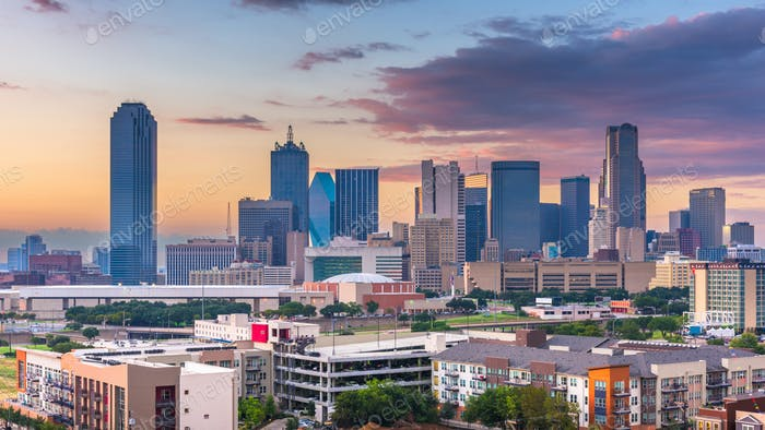 Dallas, Texas, USA skyline over Dealey Plaza