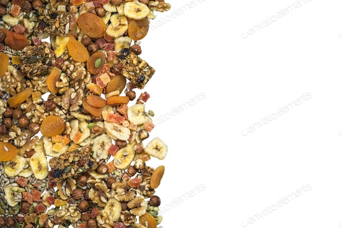 Dried fruits and nuts border background