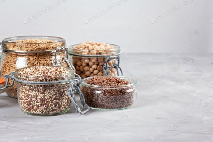 VVarious Superfoods Leinsamen, Quinoa, Kichererbsen, Hafer