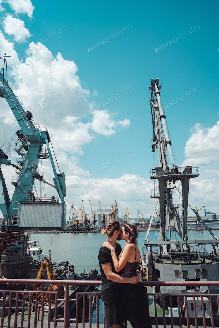 Guy and girl in the docks