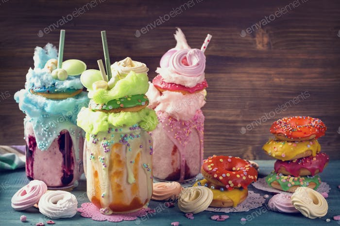 Freakshakes with donuts