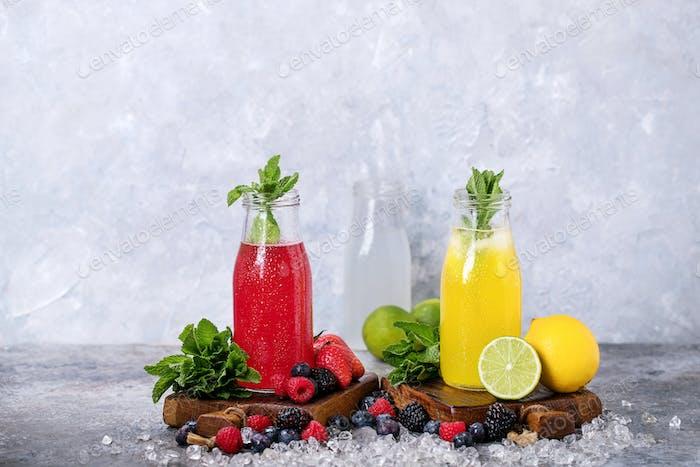 Raspberry and lemon lemonades