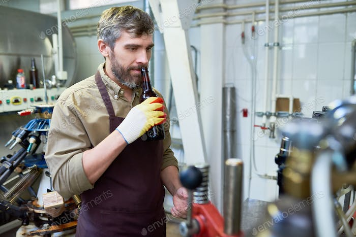 Pensive quality inspector smelling beer at brewery