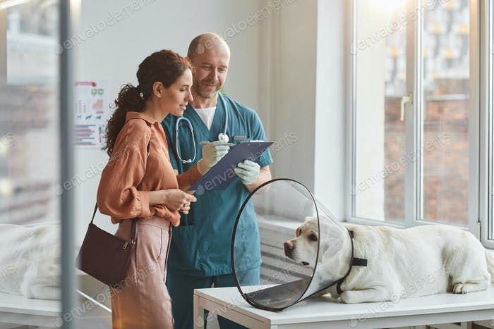 Woman Consulting Veterinarian at Clinic