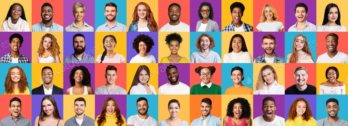 Collection Of Different Joyful Millennials Portraits On Colored Backgrounds, Panorama