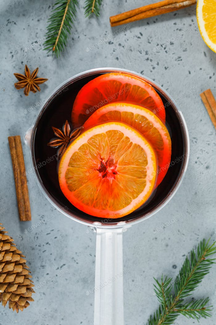 Top view on a pot with Christmas traditional beverage mulled wine