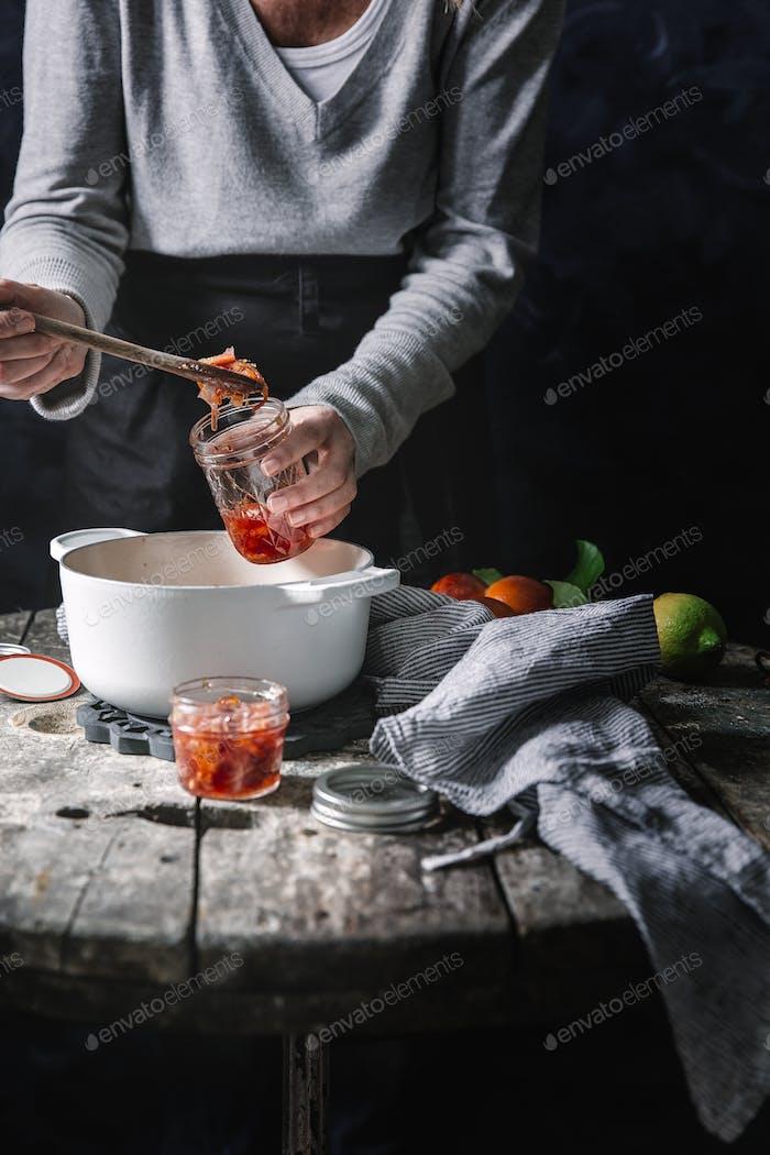 Blood orange jam process