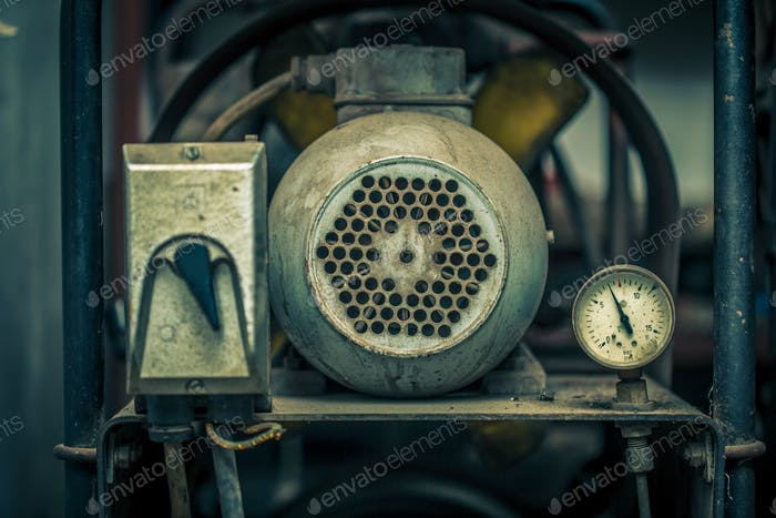 Close up shot of old air compressor