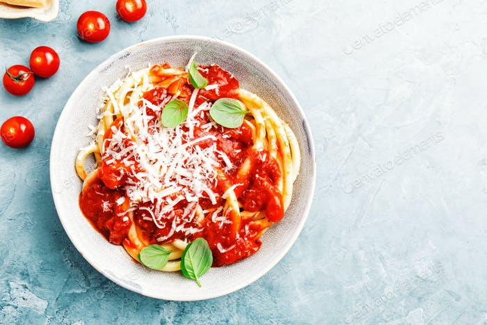 Italian pasta with tomato sauce and cheese