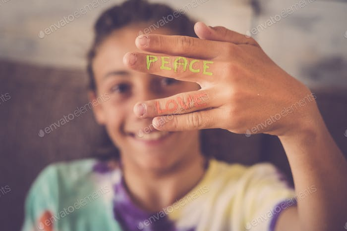 nice happiness and hope message on young boy caucasian hand