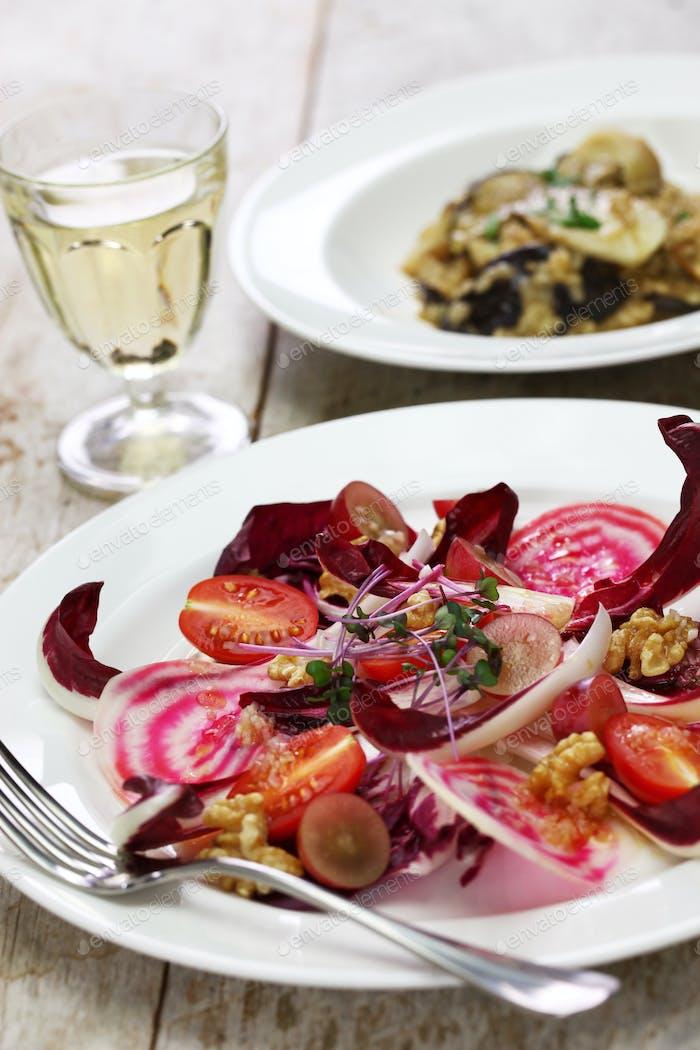 radicchio rosso salad and fresh porcini mushroom risotto