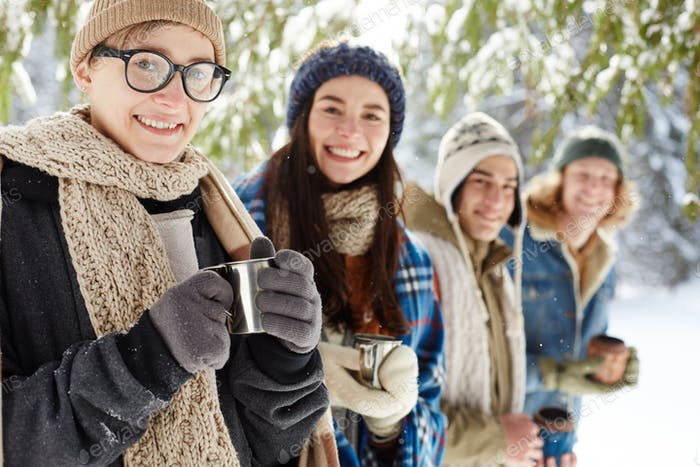 Happy Young People on Winter Vacation