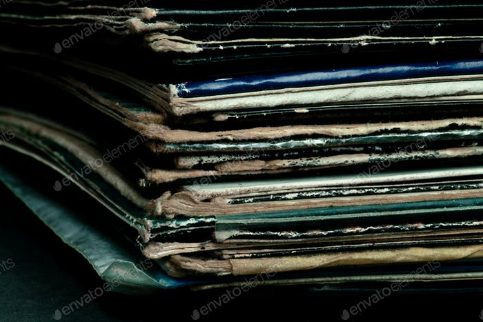 Close up of corner of old vinyls