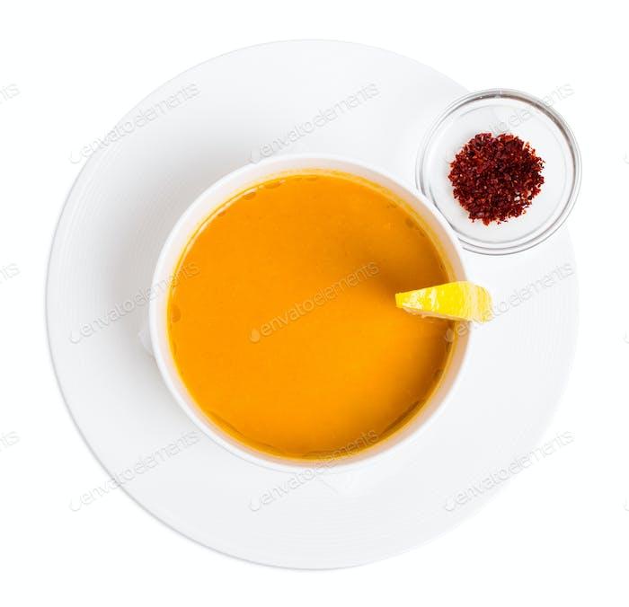 Lentil soup cream with lemon and paprika.