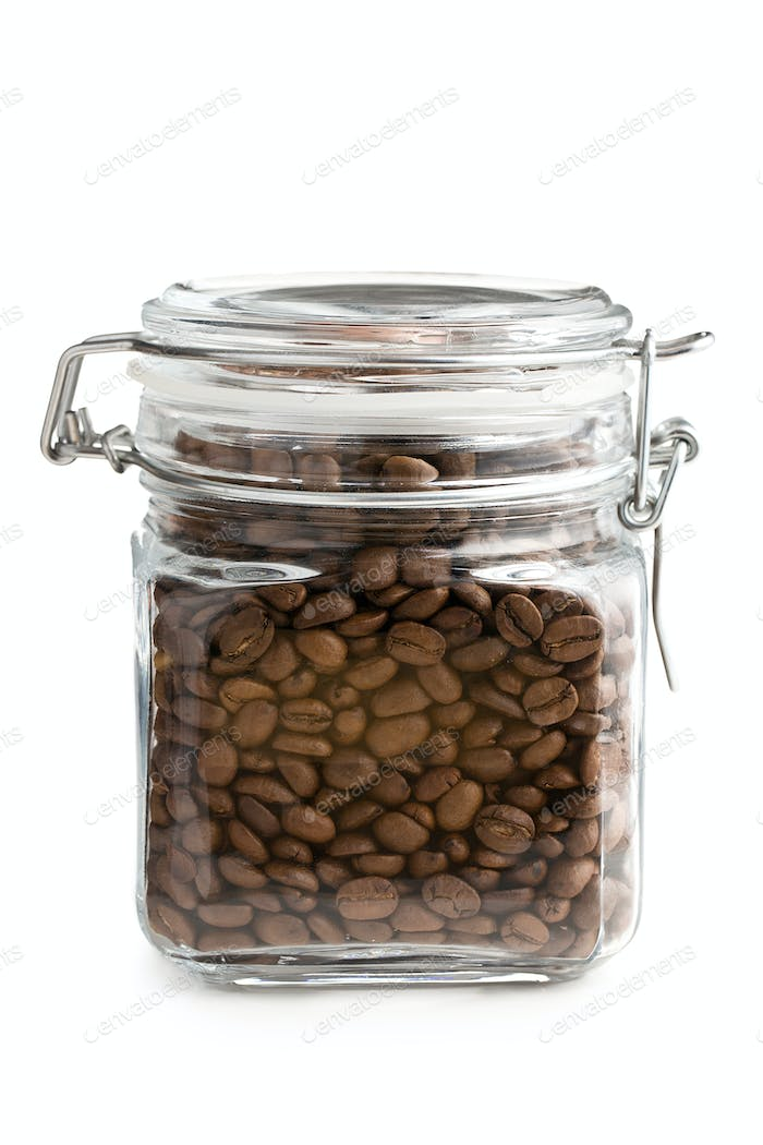 coffee beans in glass jar