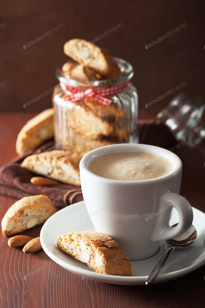 traditional italian cantuccini cookies and coffee