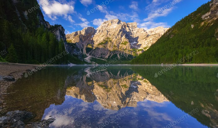 Braies Lake at sunrise, Dolomites mountains, Sudtirol, Italy