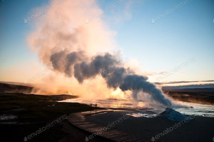 kleiner aktiver Vulkan in Island