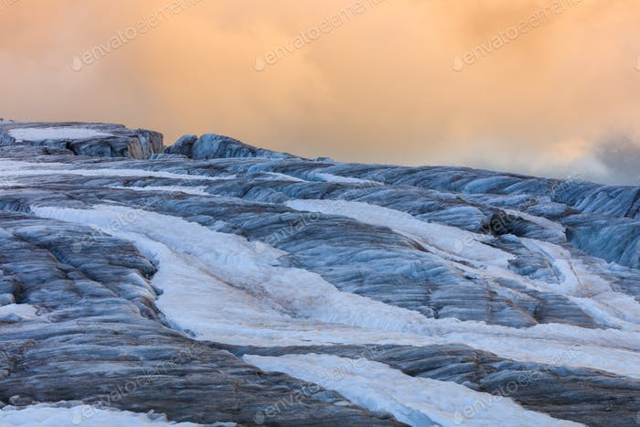 glacier du Tour in sunset. French Alps