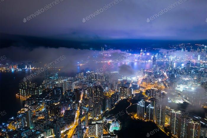 Hongkong 29. Februar 2019: Hong Kong bei Nacht