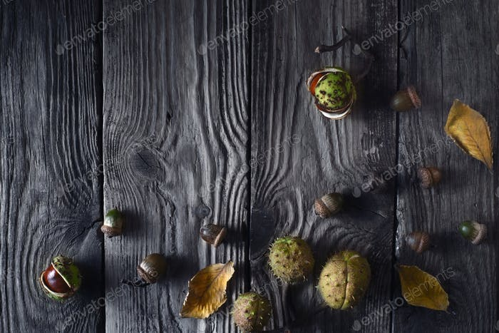 Autumn gifts on the wooden table top view