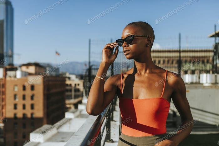 Skinhead girl at a LA rooftop