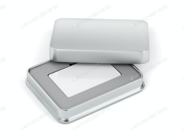 Blank white card and metal box