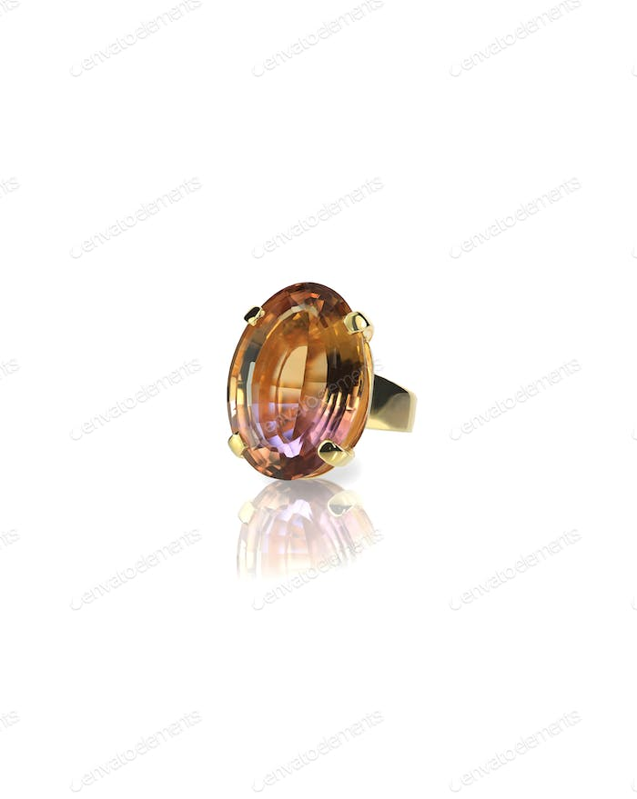 Watermelon Ametrine large gemstone cobochon ring