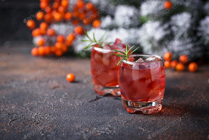 Christmas cranberry drink with rosemary