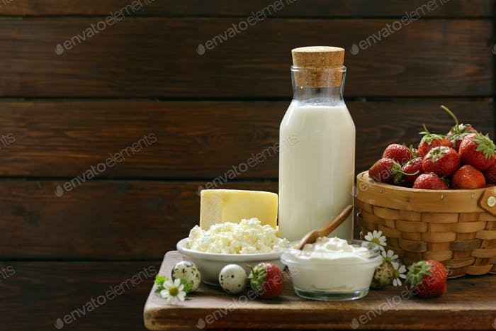Rustic Still Life Dairy Products