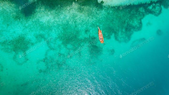 Luftaufnahme der Insel Niamembe, Sansibar